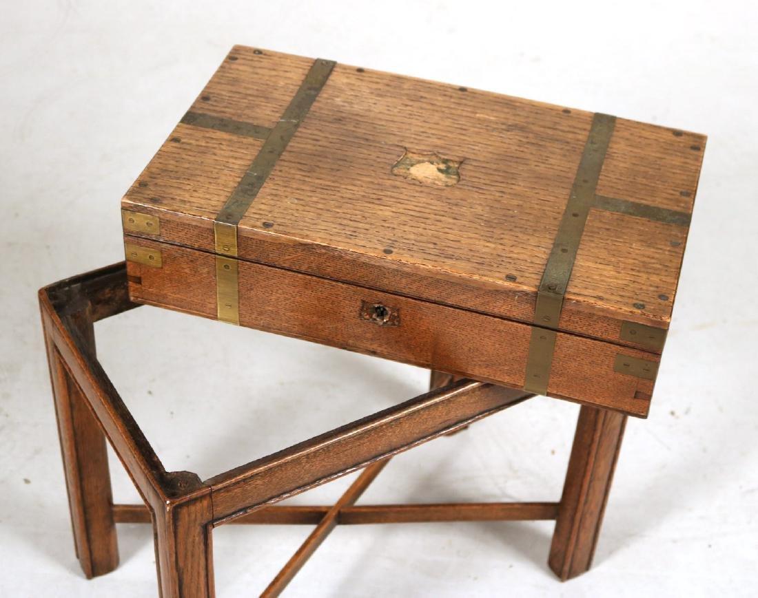 Regency Brass-Bound Oak Lap Desk-on-Stand - 7