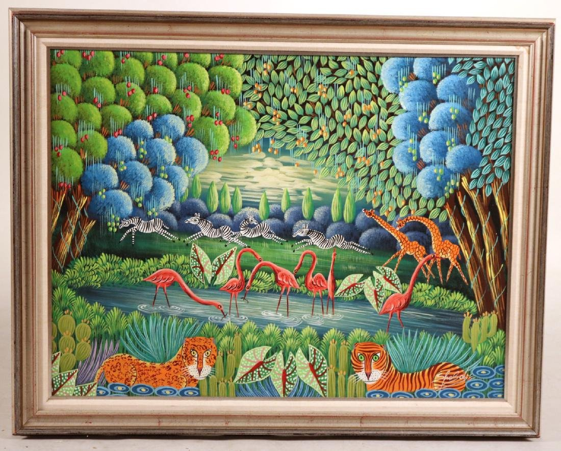 Oil on Board, Whimsical Jungle Scene