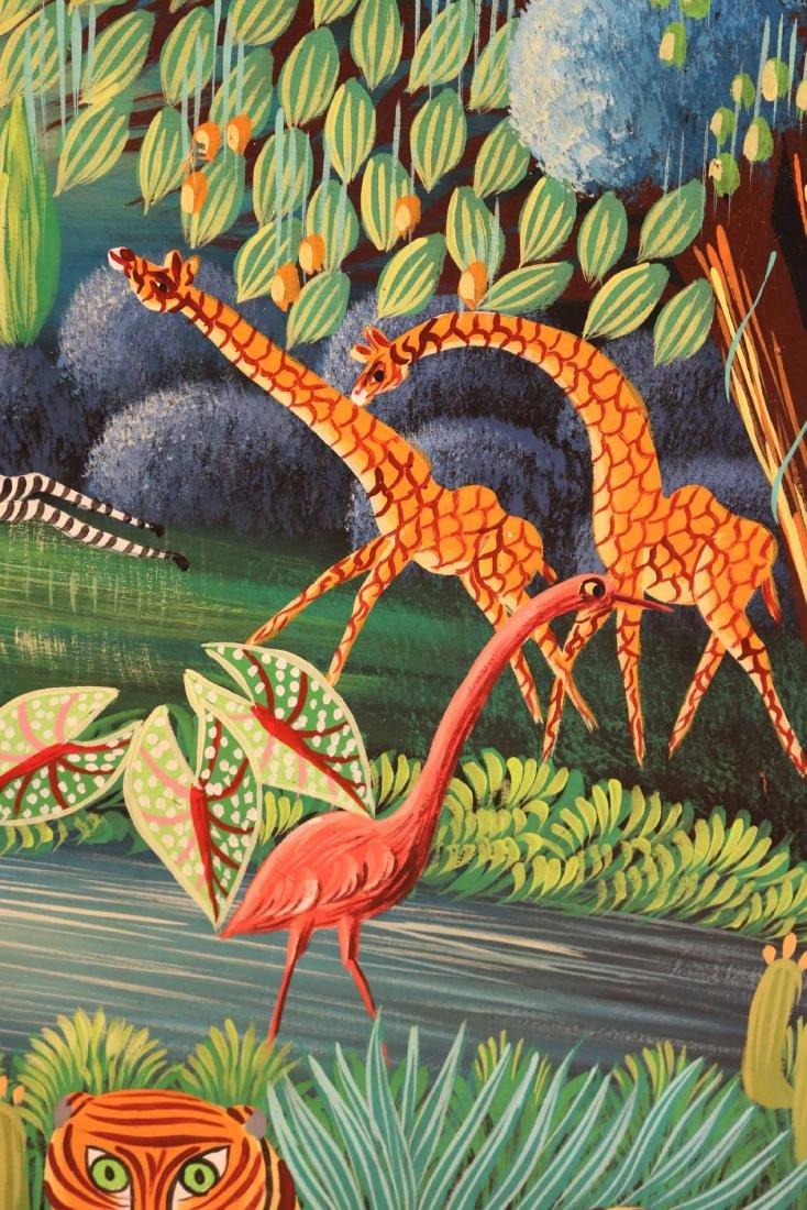 Oil on Board, Whimsical Jungle Scene - 3