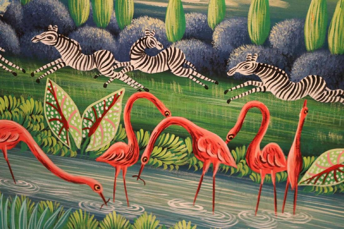 Oil on Board, Whimsical Jungle Scene - 5