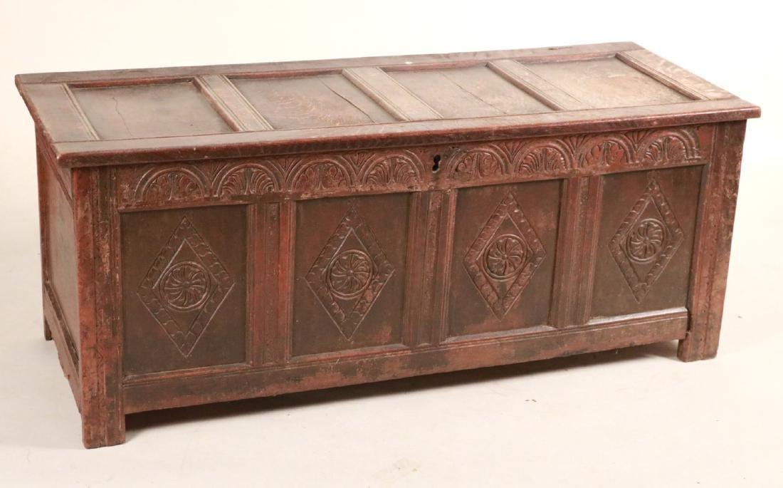 Elizabethan Carved Oak Coffer