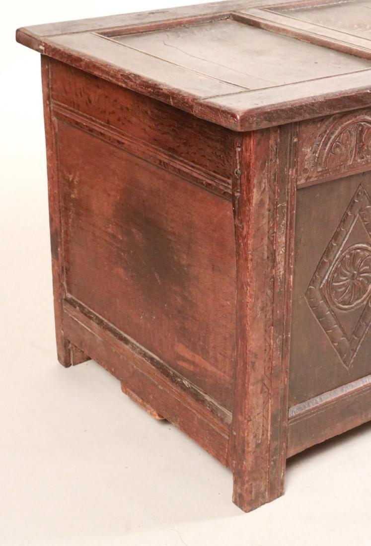 Elizabethan Carved Oak Coffer - 2