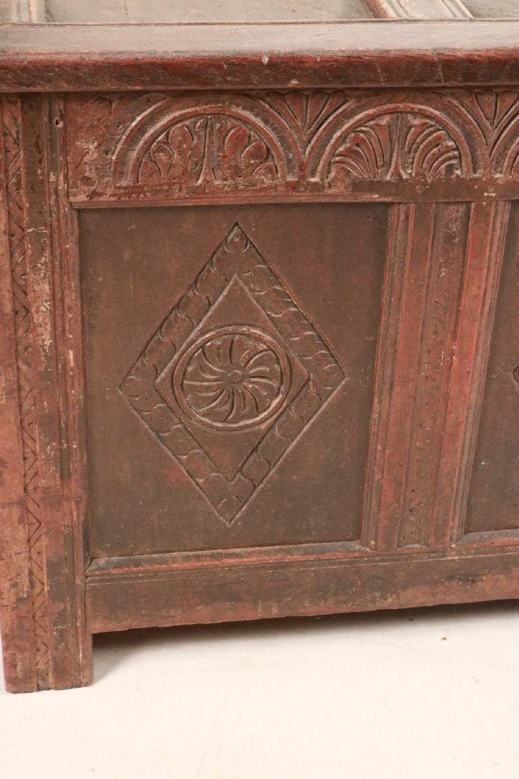 Elizabethan Carved Oak Coffer - 4