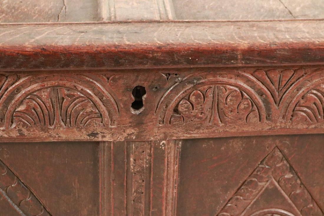 Elizabethan Carved Oak Coffer - 5