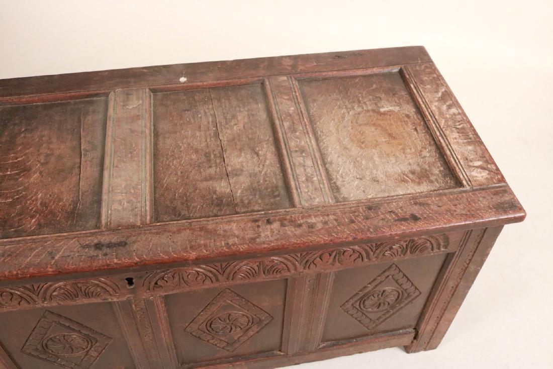Elizabethan Carved Oak Coffer - 6