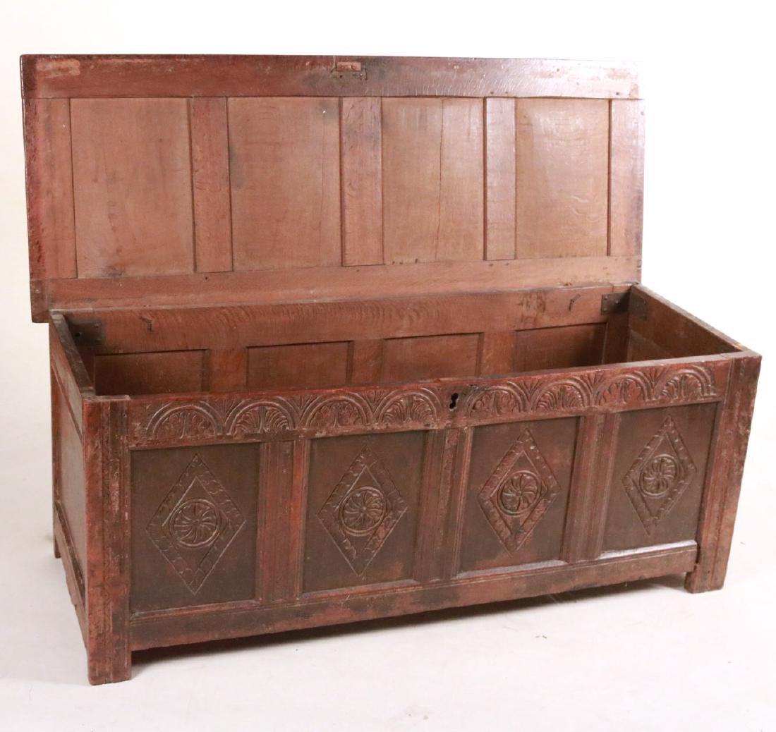 Elizabethan Carved Oak Coffer - 8