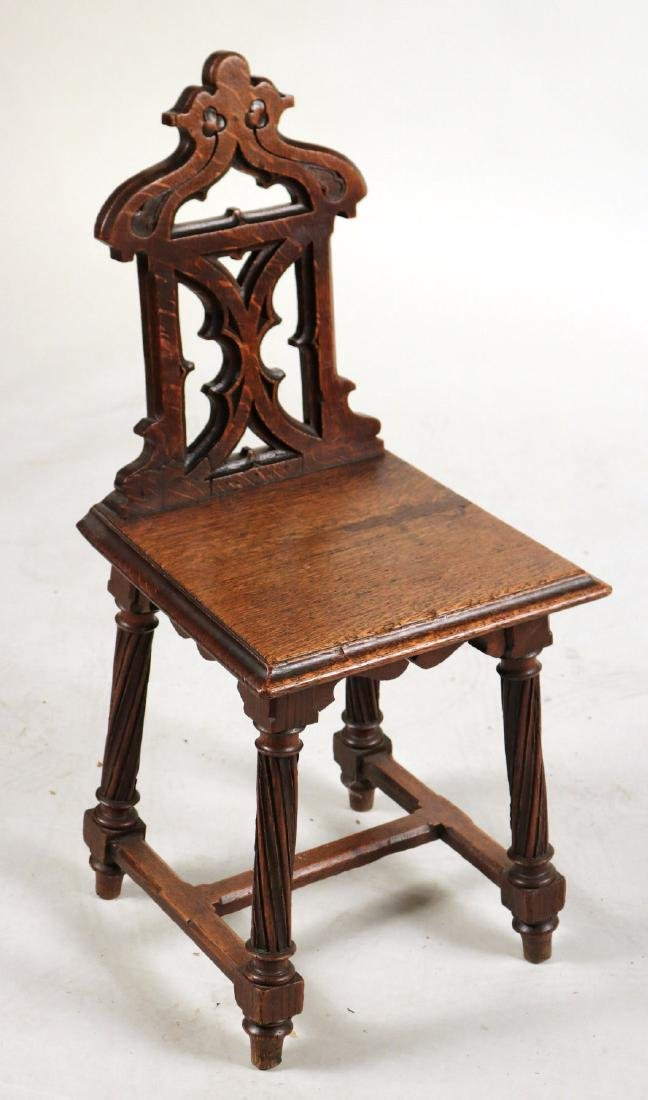Pair of Victorian Carved Oak Hall Chairs - 2
