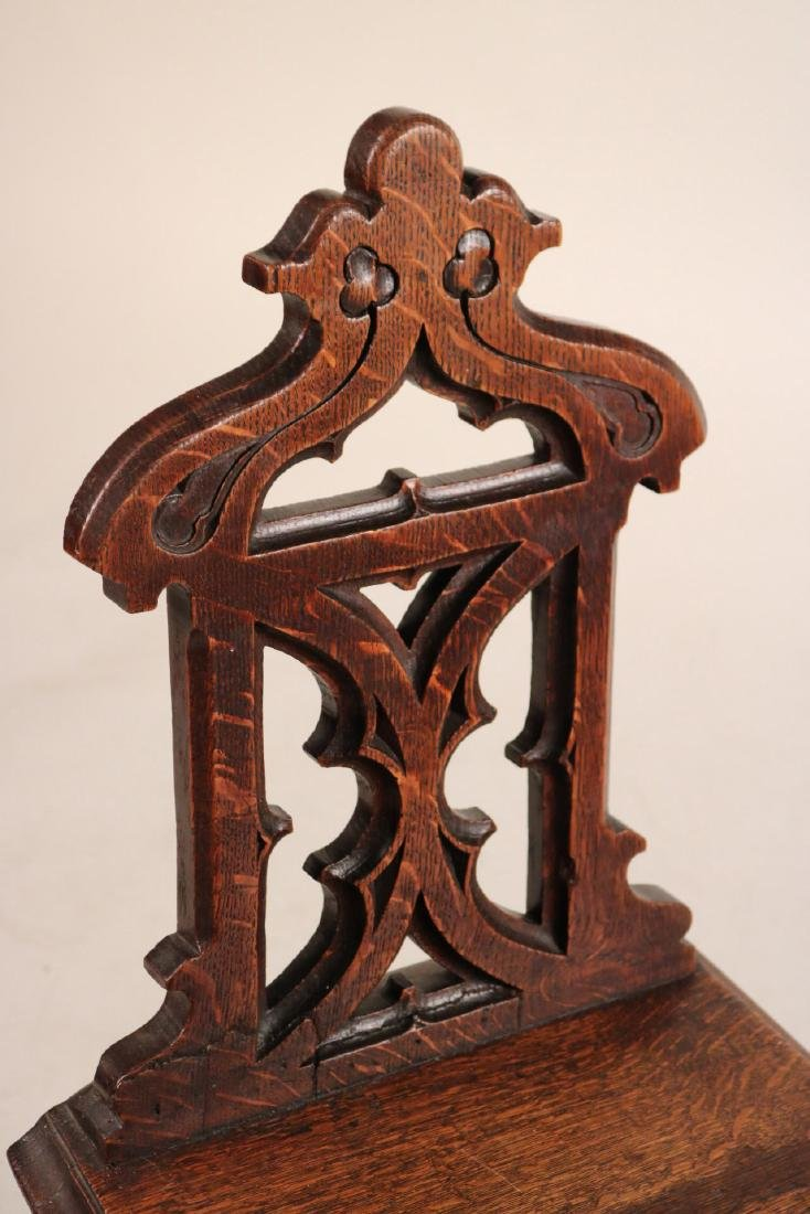 Pair of Victorian Carved Oak Hall Chairs - 3