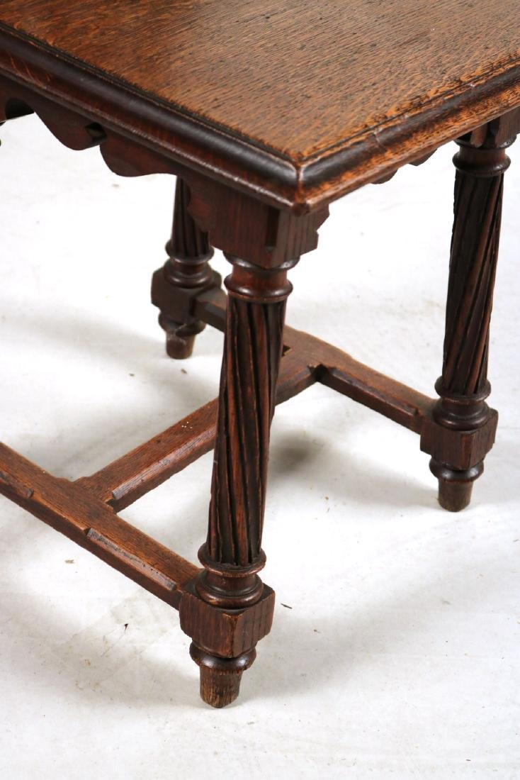 Pair of Victorian Carved Oak Hall Chairs - 5