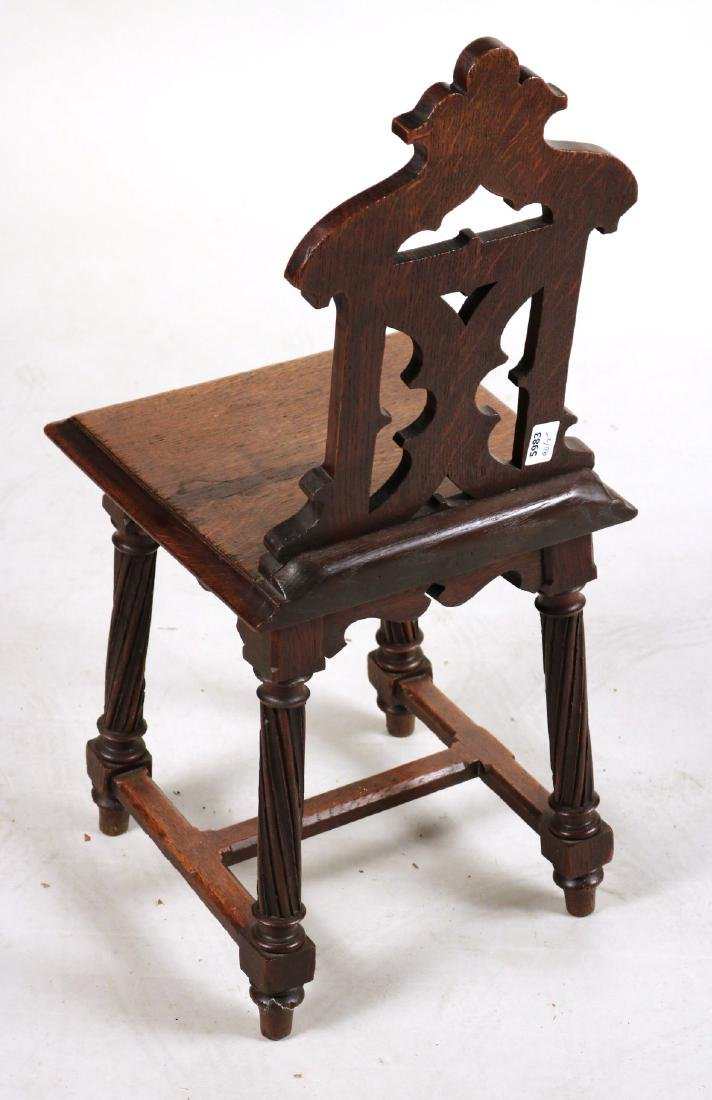 Pair of Victorian Carved Oak Hall Chairs - 6