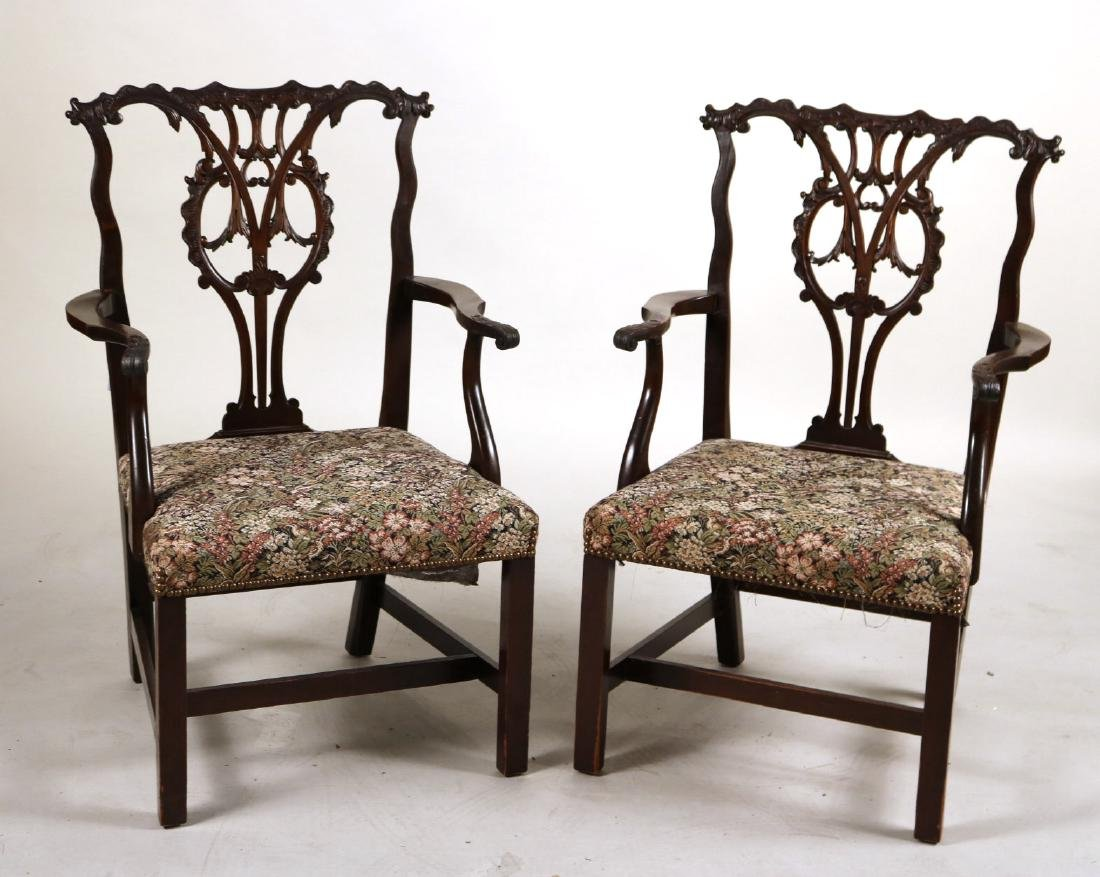 Pair of George III Style Mahogany Open Armchairs