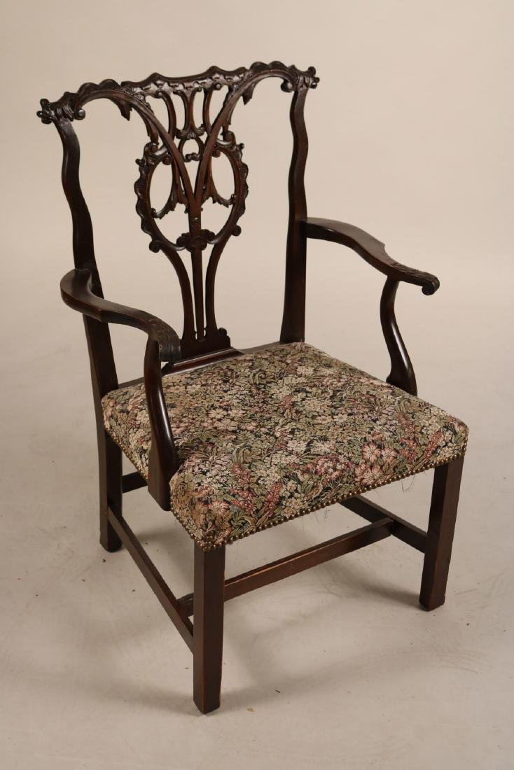 Pair of George III Style Mahogany Open Armchairs - 2