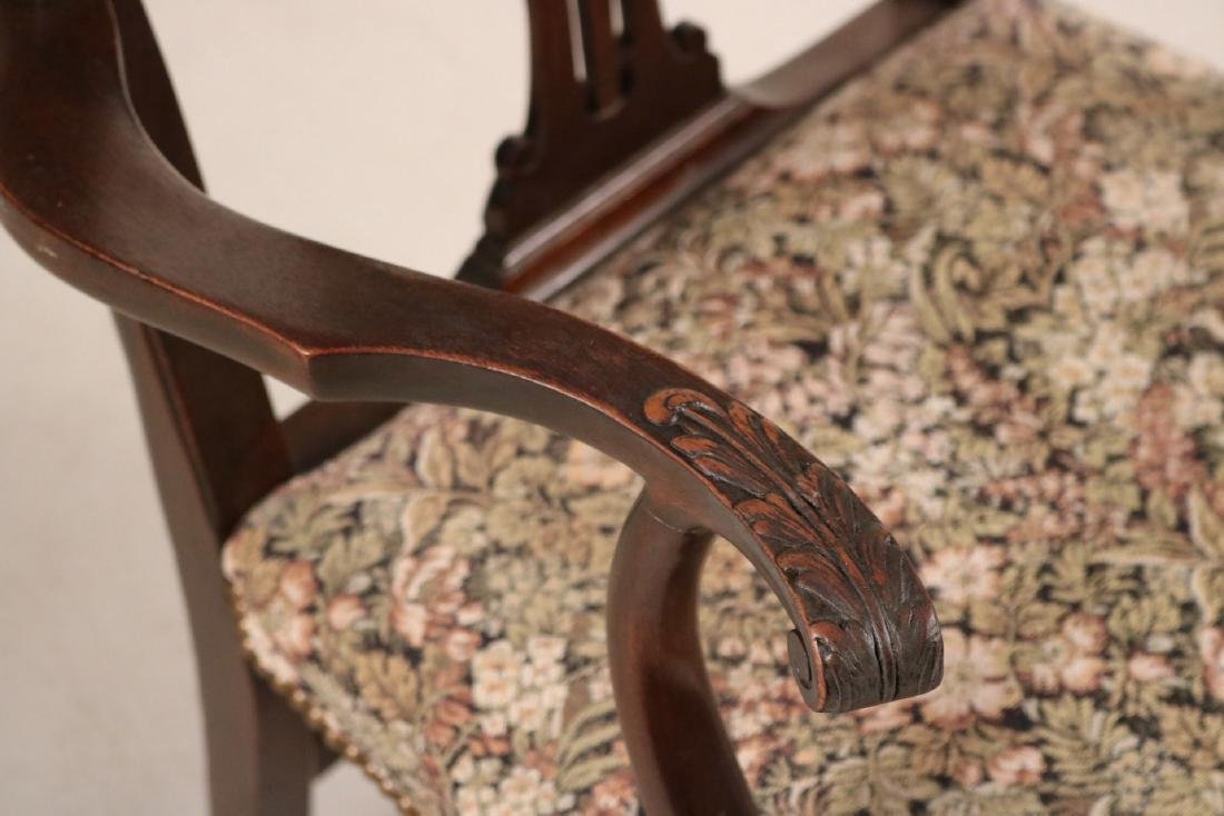 Pair of George III Style Mahogany Open Armchairs - 3