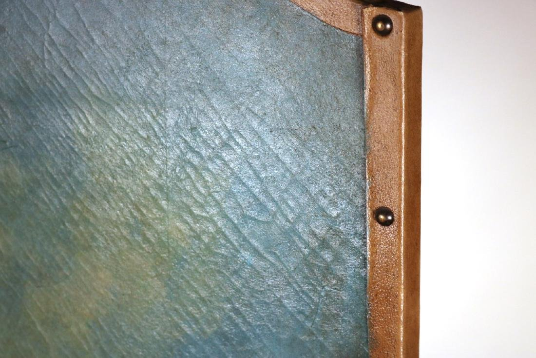 Painted Leather Four-Panel Screen - 4