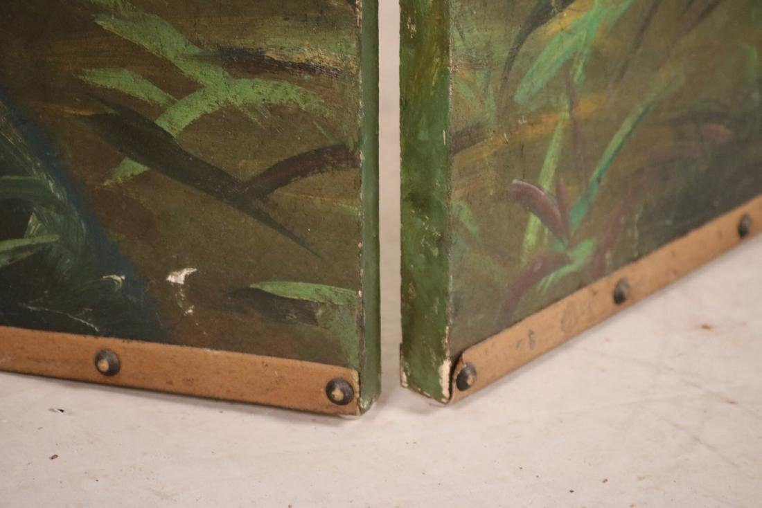 Painted Leather Four-Panel Screen - 5
