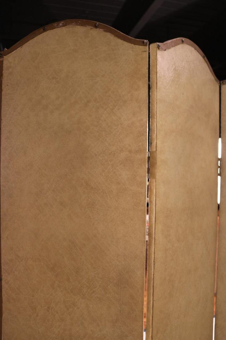 Painted Leather Four-Panel Screen - 6