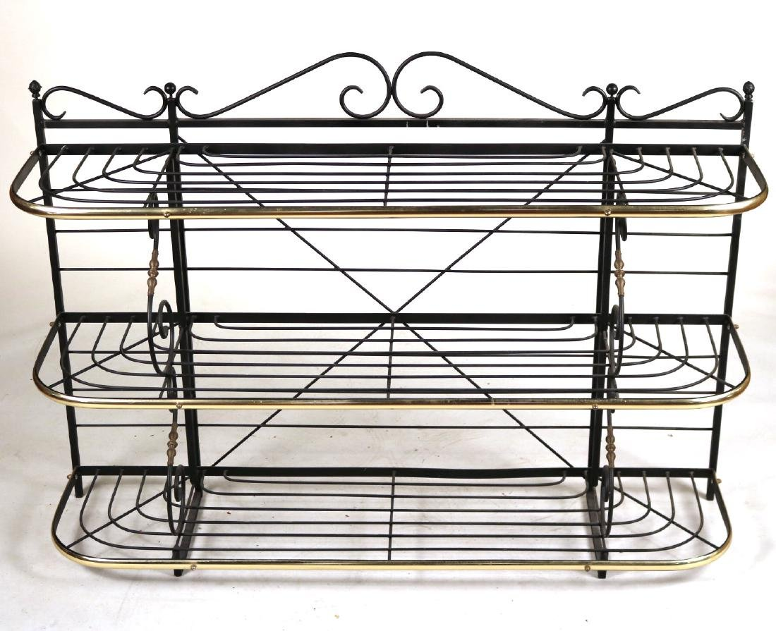 Wrought-Iron and Brass Hanging Baker's Rack