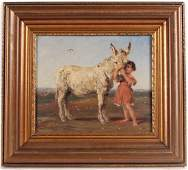 Oil on Canvas, Girl with Donkey