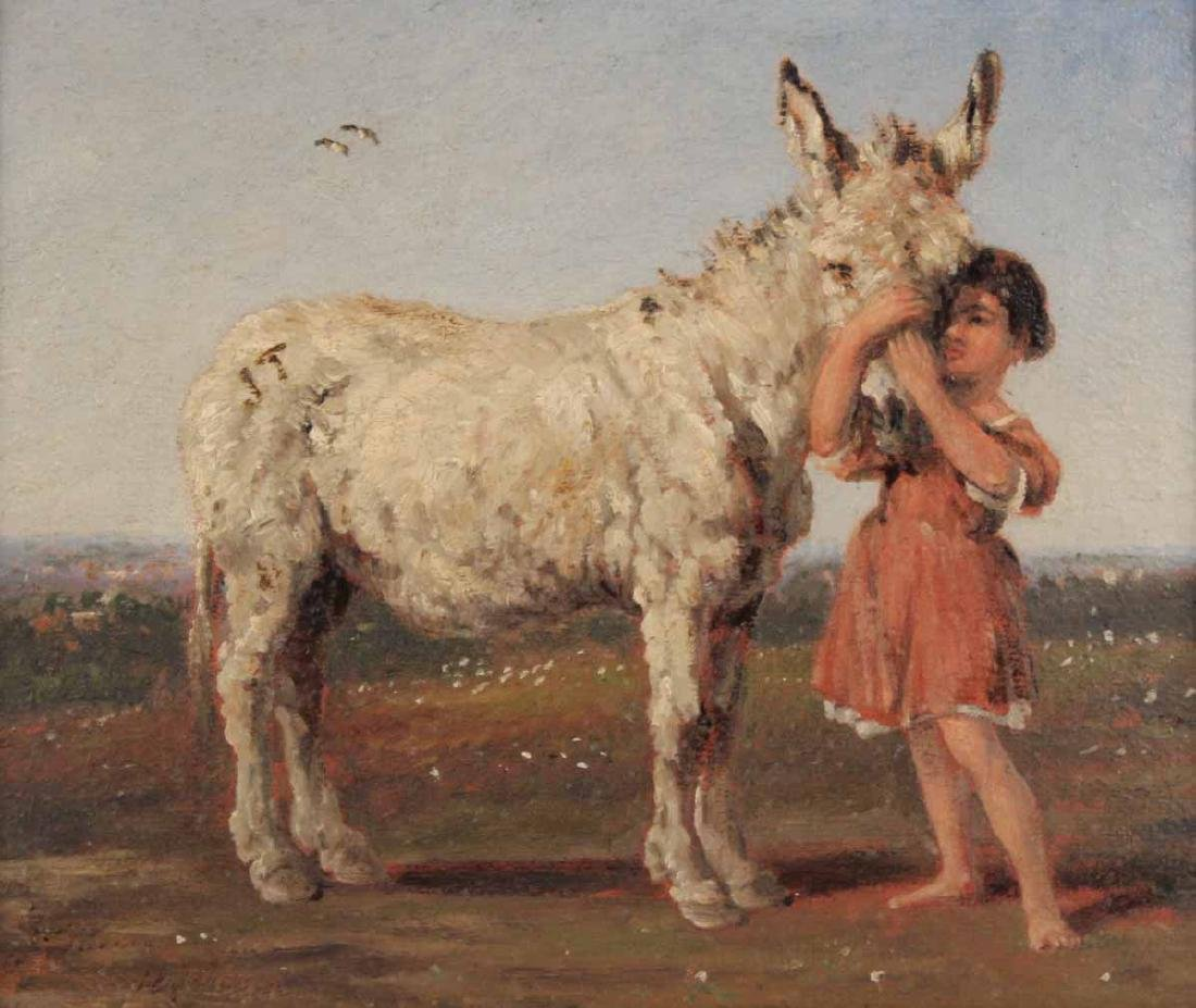 Oil on Canvas, Girl with Donkey - 2