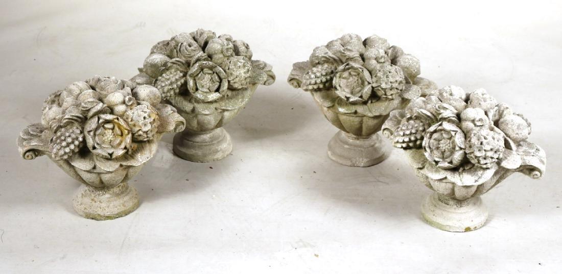 Four Cast-Stone Floral Garden Ornaments