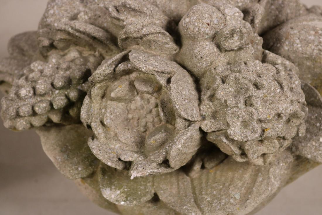 Four Cast-Stone Floral Garden Ornaments - 4