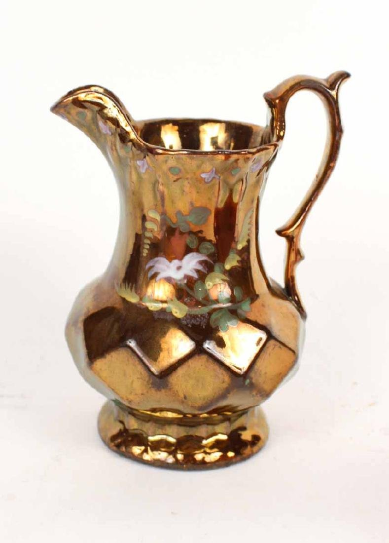 Brown Lusterware Floral Decorated Pitcher - 8