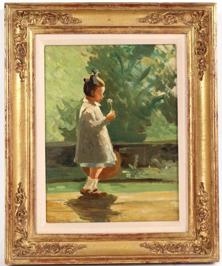 Oil on Artist Board, Girl Walking on Path