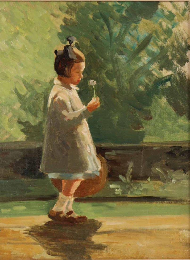 Oil on Artist Board, Girl Walking on Path - 2