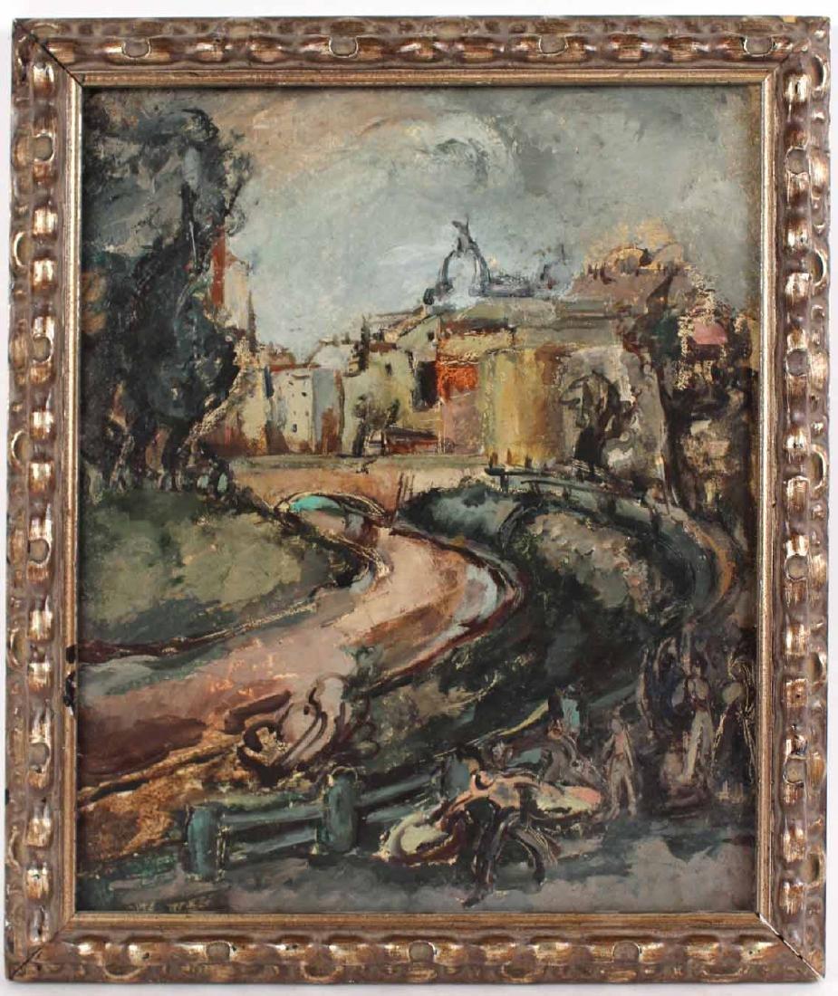 """Oil on Board, """"Bucharest,"""" Jeanne Daour"""