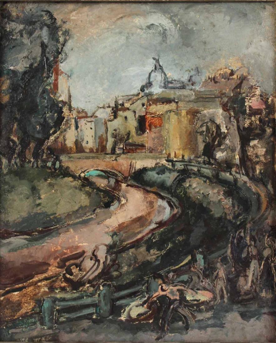"""Oil on Board, """"Bucharest,"""" Jeanne Daour - 2"""