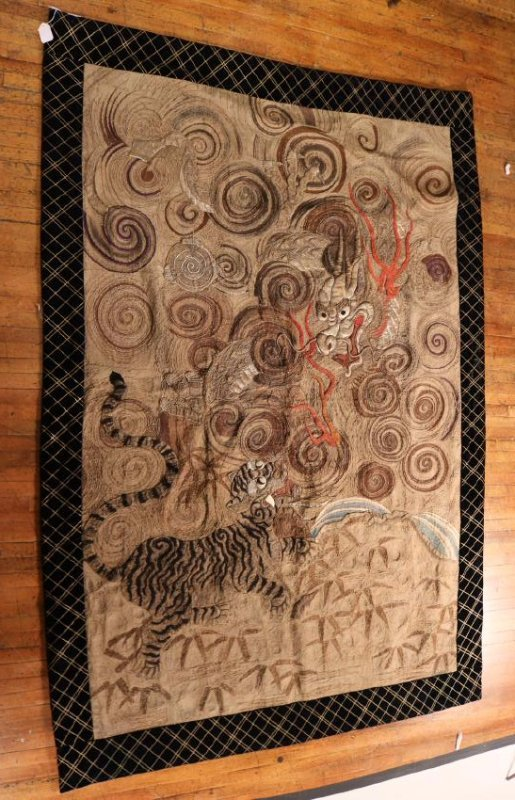 Chinese Swirling Dragon and Tiger Embroidery