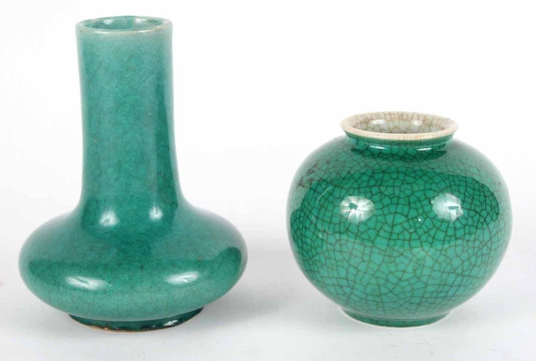 Two Chinese Green Vases