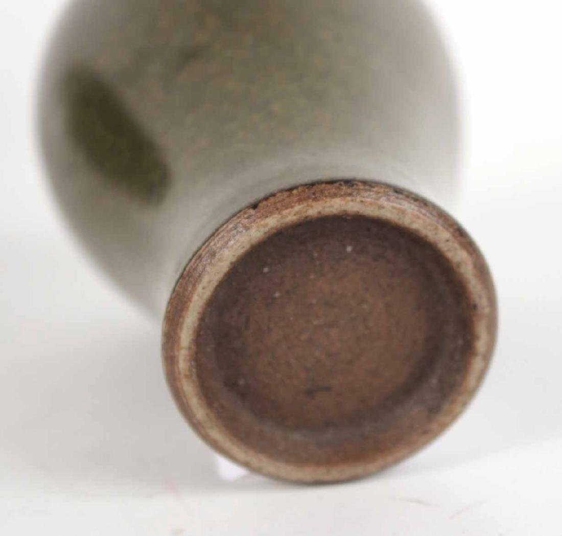 Two Glazed Dark Green Vases - 6