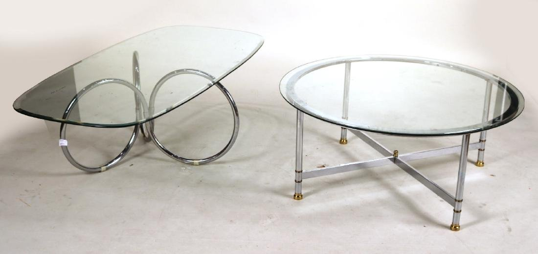 Two Glass Top Chrome Low Tables