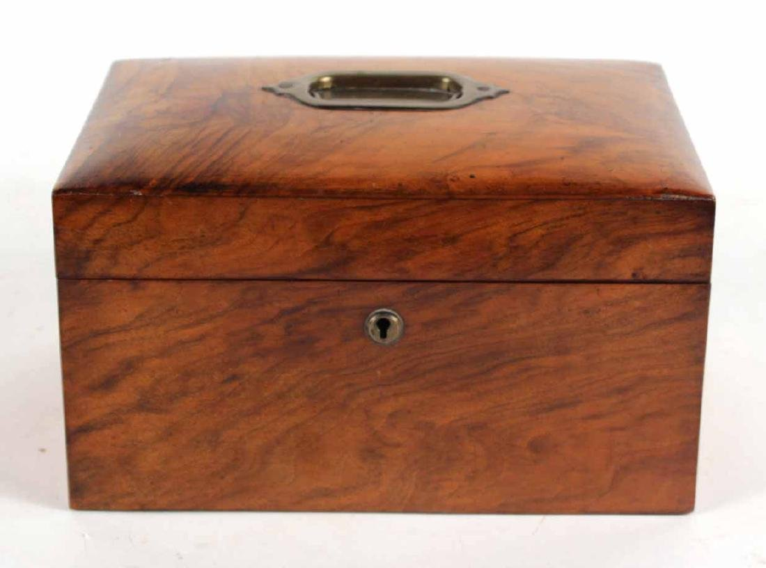 English Burl Walnut Campaign Lidded Box - 2