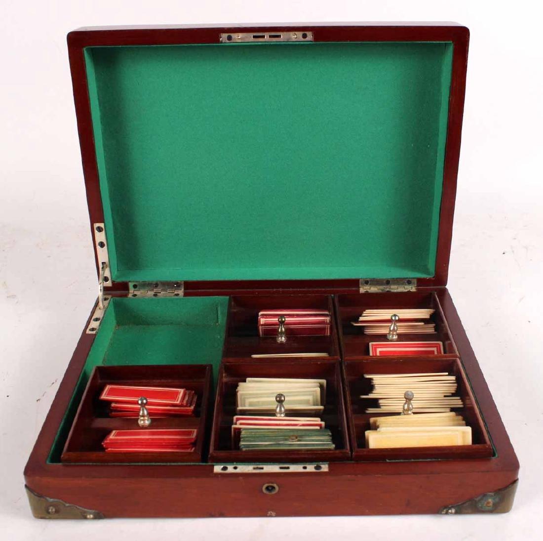 American Mahogany Hinged Lidded Gaming Box - 4