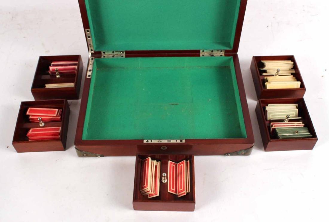 American Mahogany Hinged Lidded Gaming Box - 5