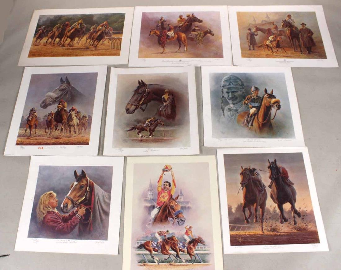 Eight Fred Stone Horse Racing Lithographs