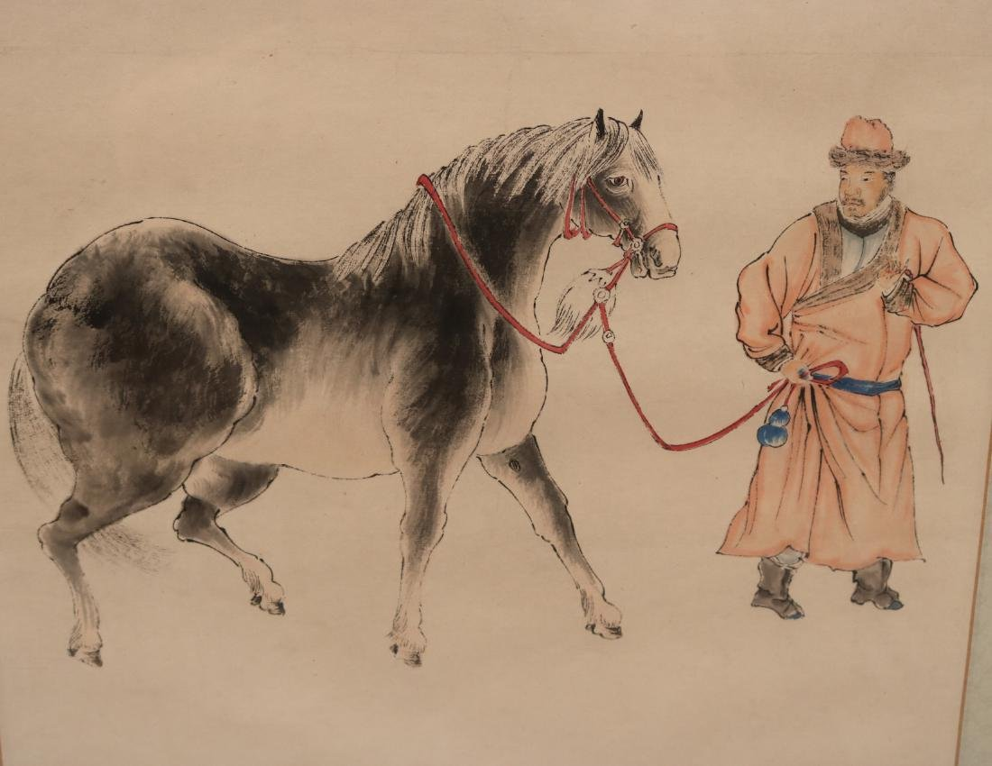 Chinese Watercolor Scroll, Man with Horse - 3