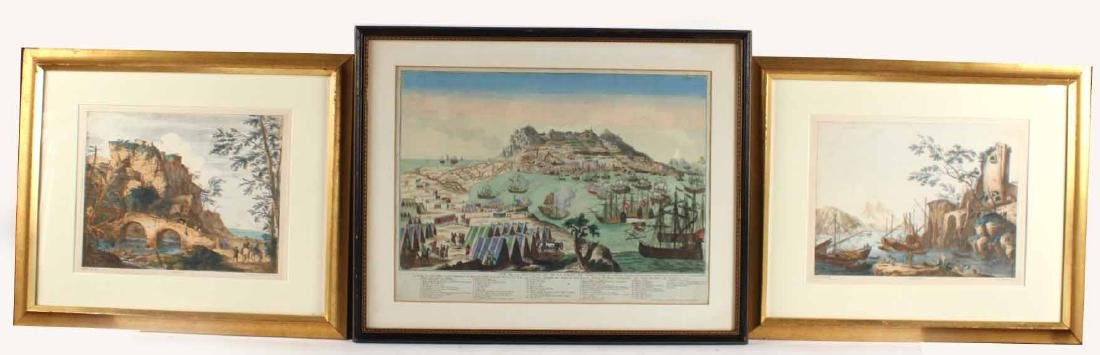 Two Italian Polychrome Seascape Prints