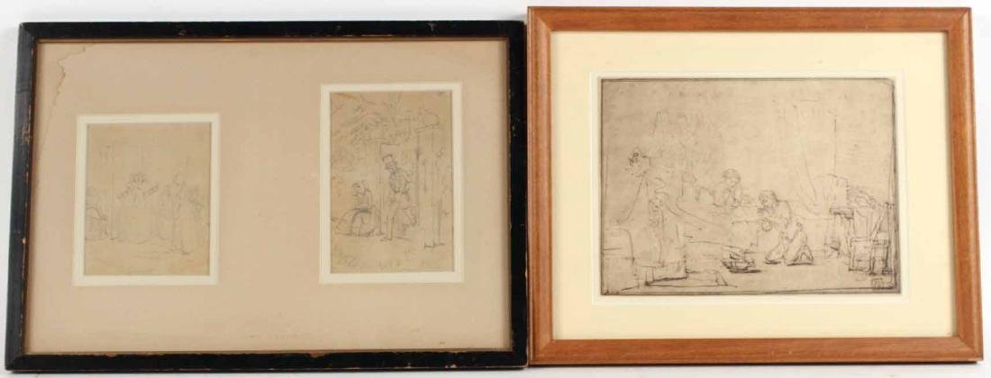 Two Pencil Drawings, Attributed to John Leech