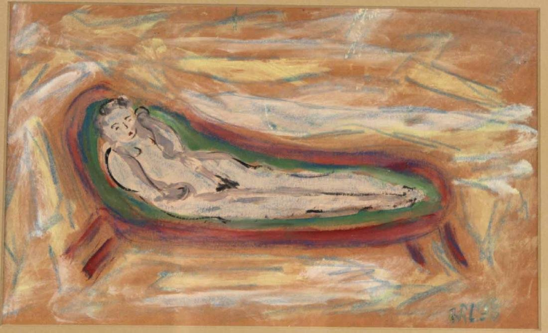 Mixed Media, Reclining Nude in Green Chair - 2