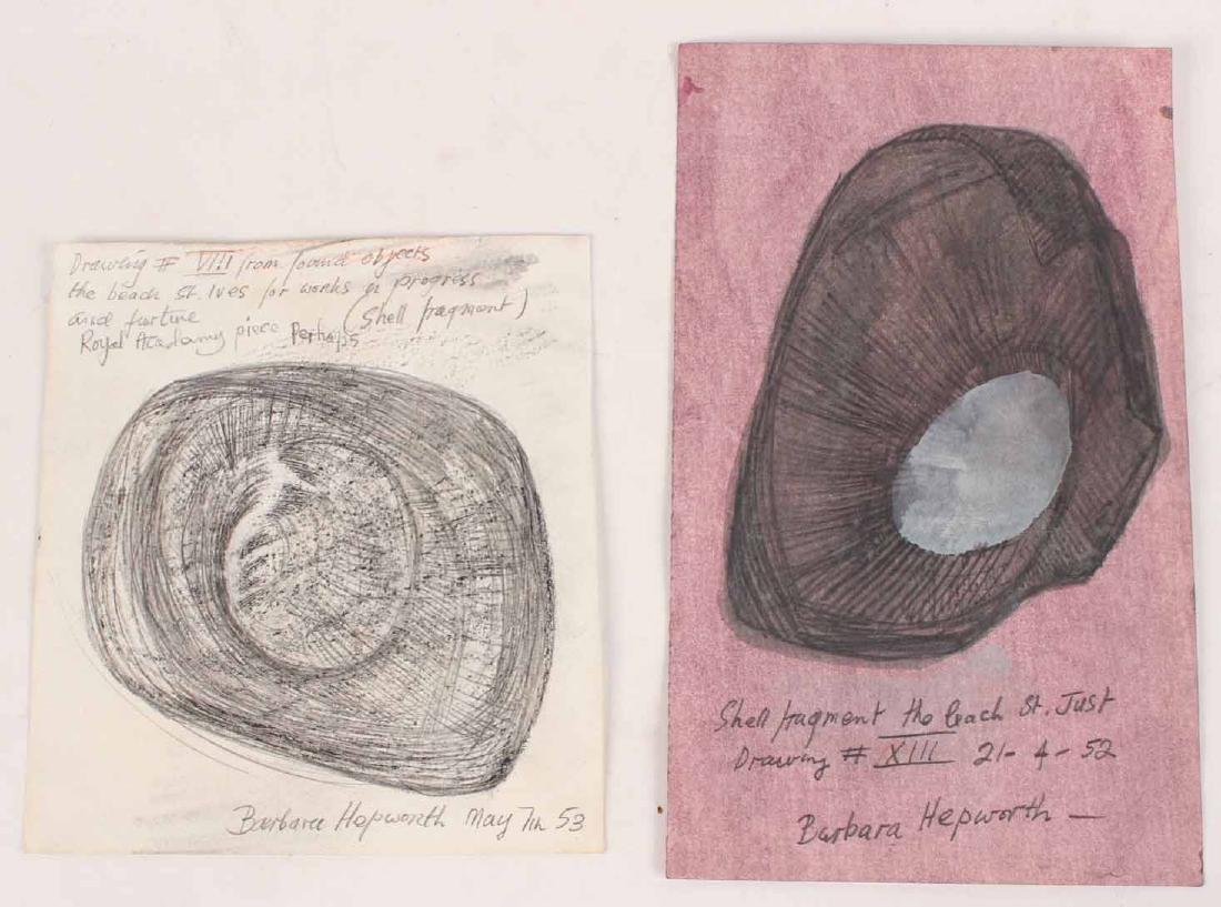 Two Mixed Media on Paper, Shell Fragments