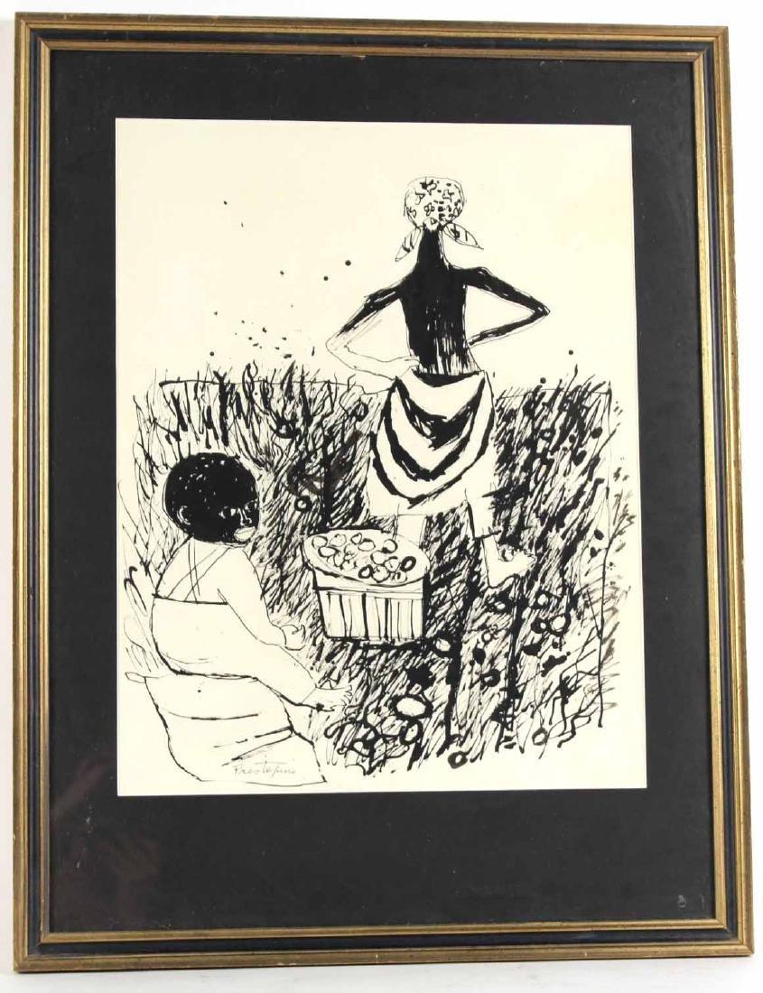 "Ink Drawing ""Potato Pickers,"" Gregorio Prestopino"