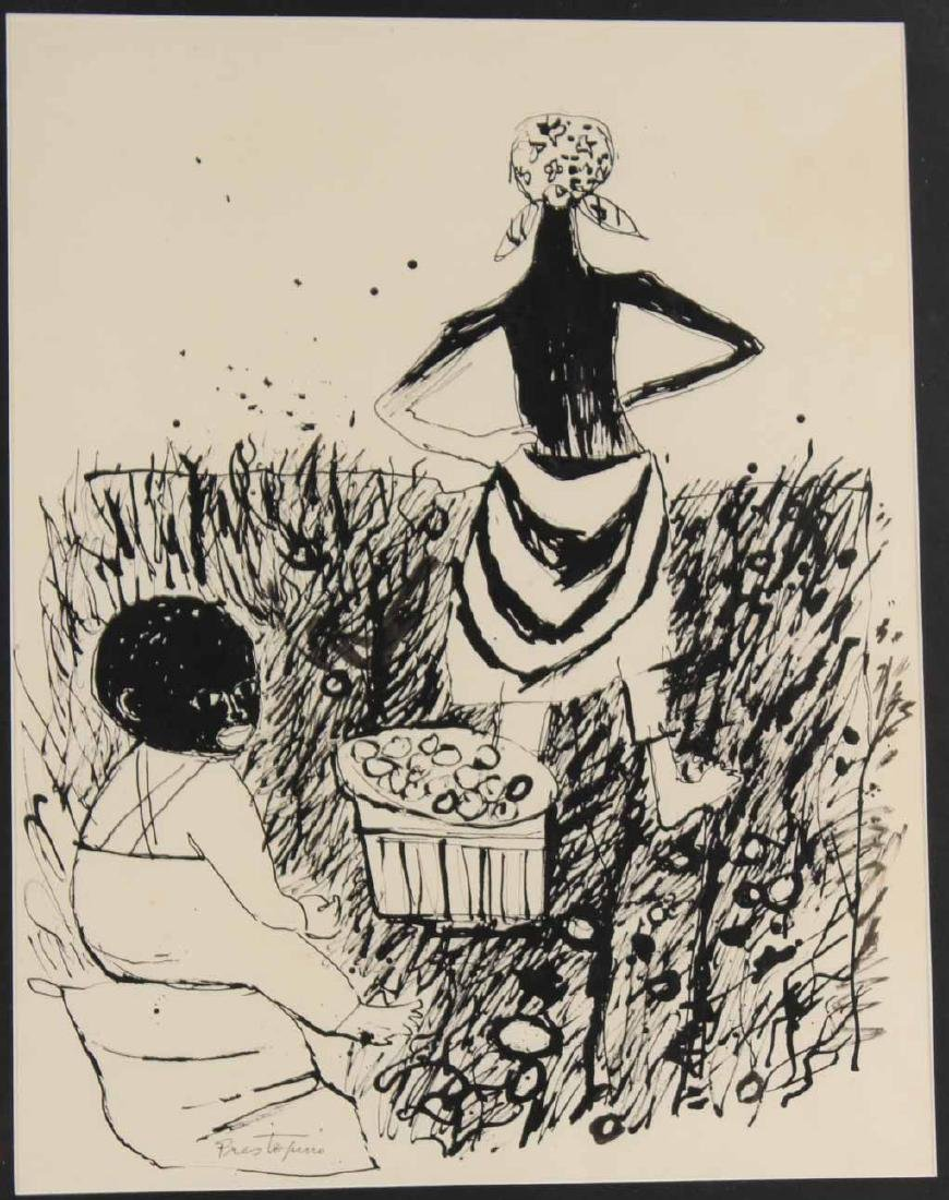 "Ink Drawing ""Potato Pickers,"" Gregorio Prestopino - 2"