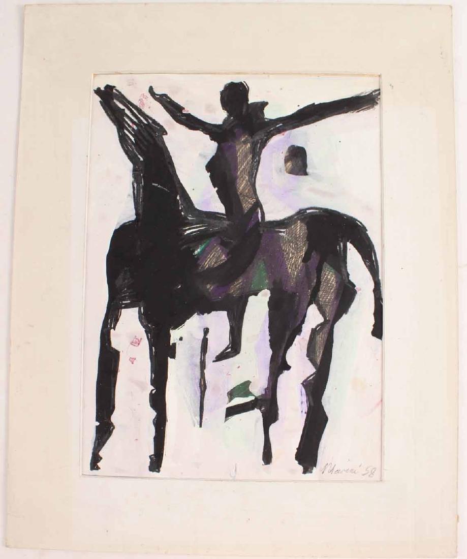 Watercolor, Abstract Equestrian, Marino Marini