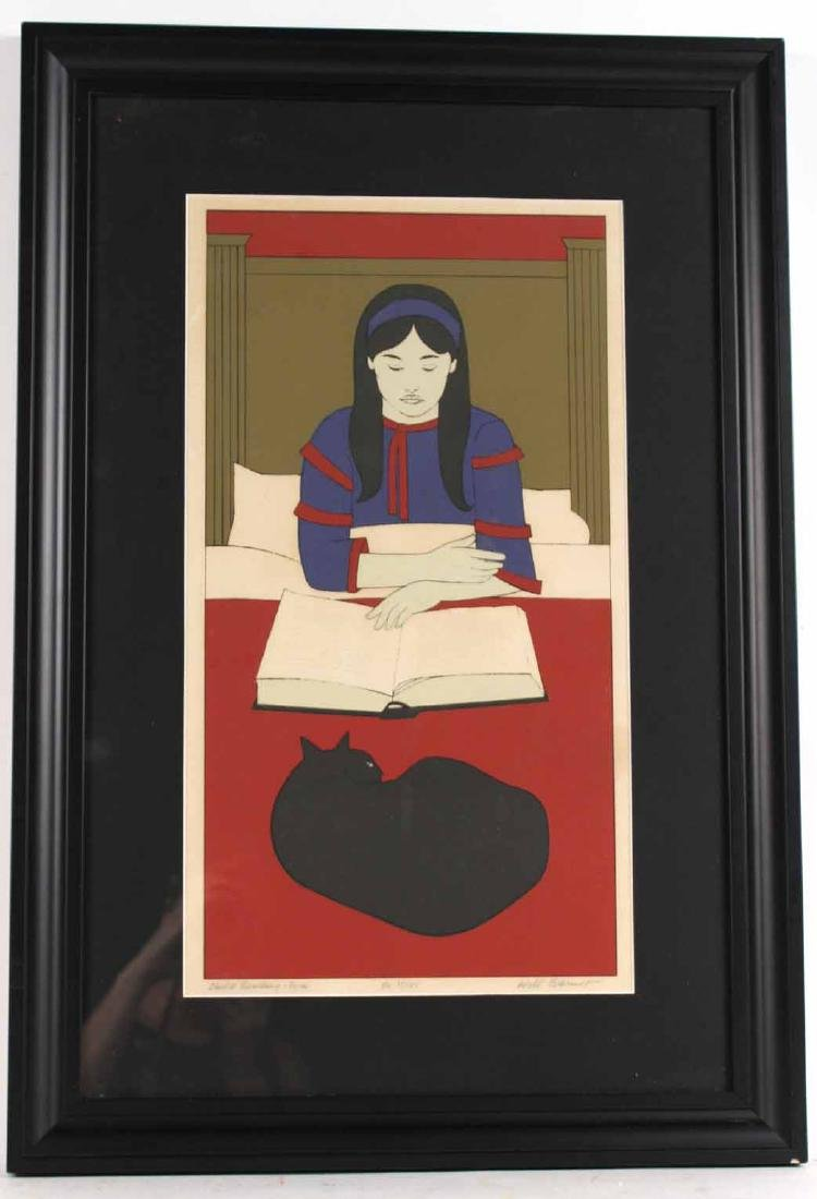 "Lithograph, ""Child Reading - Red"" Will Barnett"