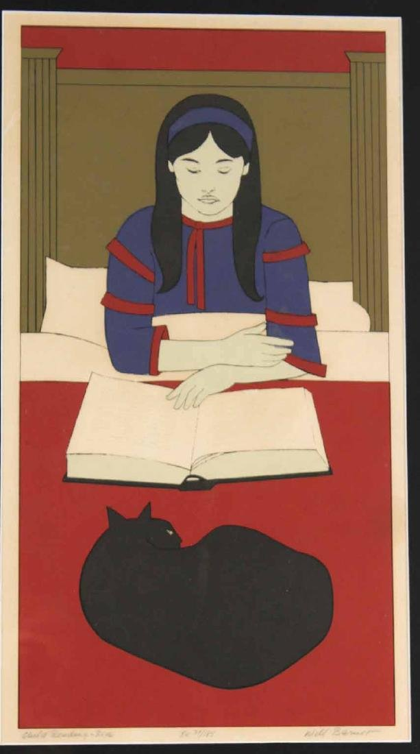 "Lithograph, ""Child Reading - Red"" Will Barnett - 2"