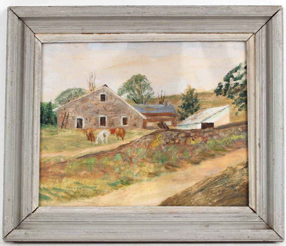 Oil on Board Barnyard, Charles Augustus Mager