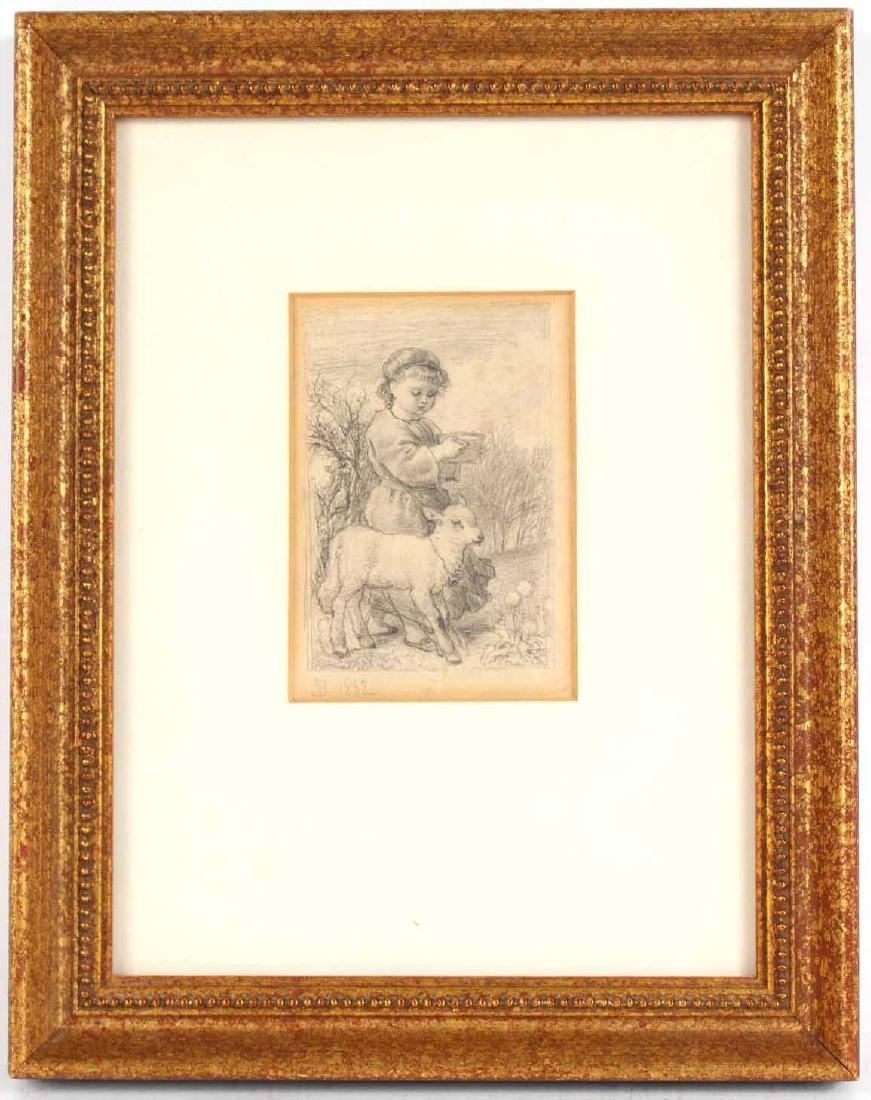 Pencil Drawing, Girl with Lamb